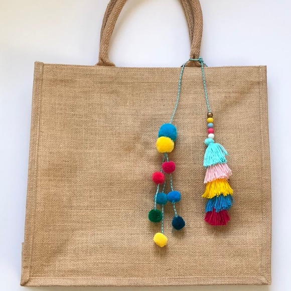 Bags Chic Jute Bag With Pompoms And Tassels Poshmark